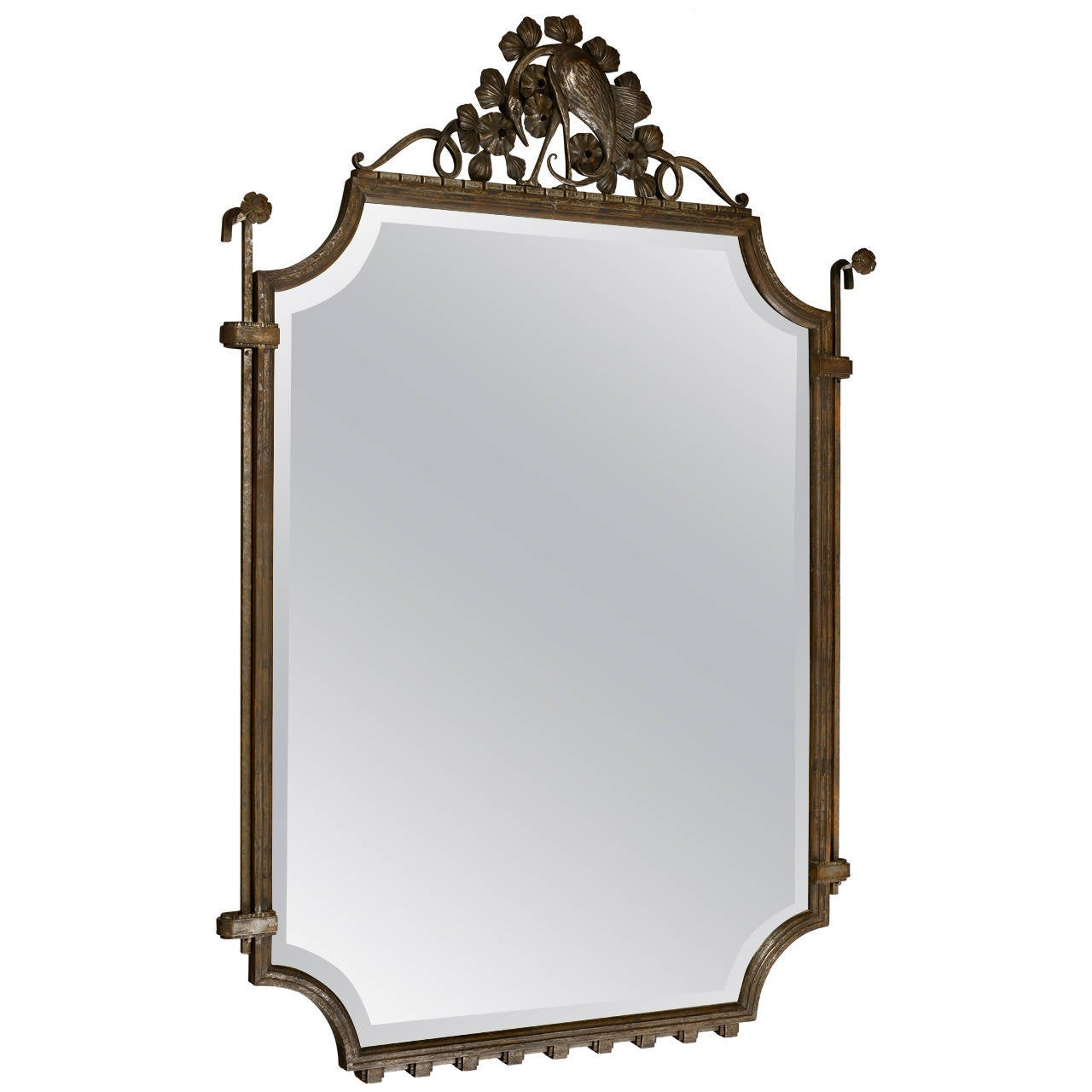 Large raymond subes 1925 wrought iron mirror at 1stdibs for Wrought iron mirror