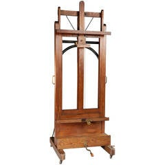 19th Century Oak and Metal Easel for Paintings