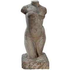 Louis Dejean 1920's Direct Carved Sculpture in Pink Granite