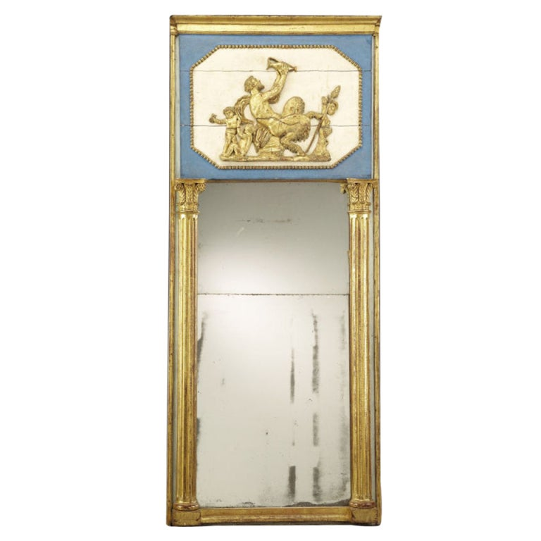 Continental Giltwood and Painted Trumeau Mirror