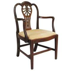 English George III Mahogany Open Armchair