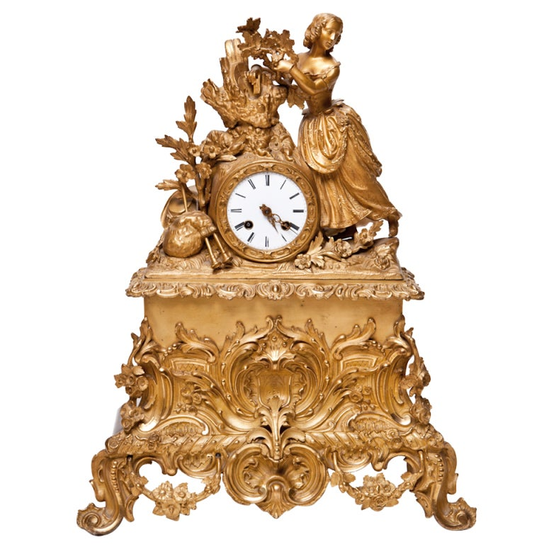 french 19th century baroque style bronze dore mantle clock