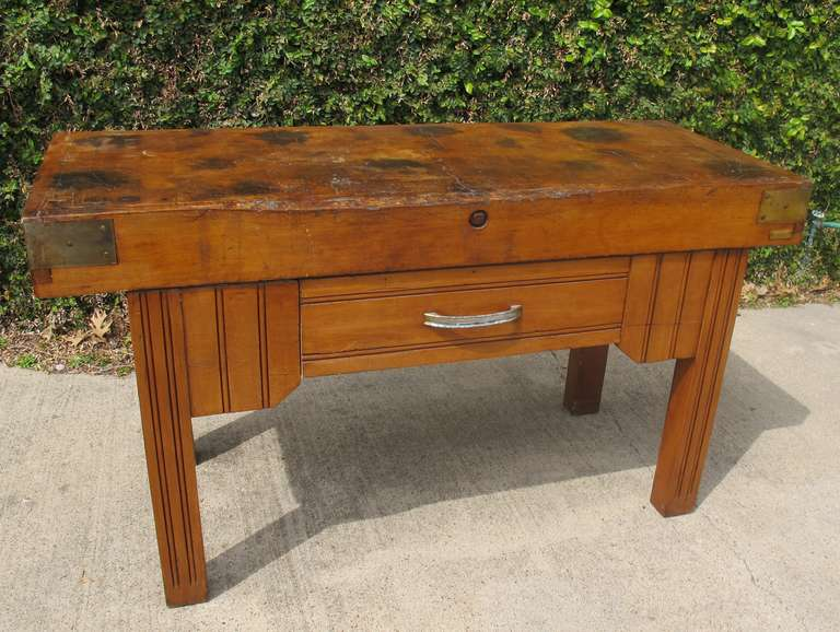 Antique French Butcher Block Table 2