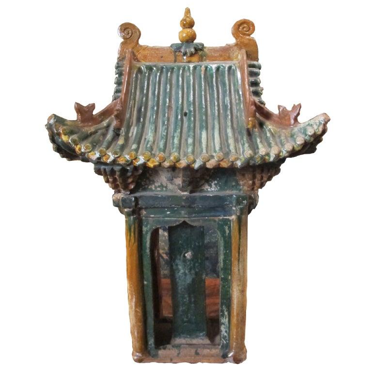 Chinese Sancai-glazed Ming Pottery Temple