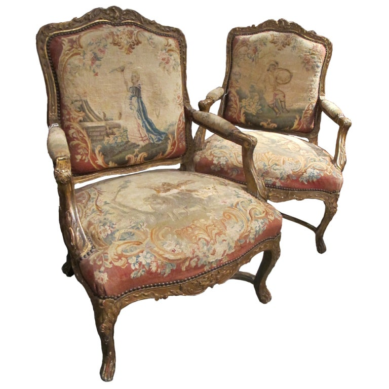 """Pair of French Armchairs """"a la Reine"""", Louis XV style, Circa 1880."""