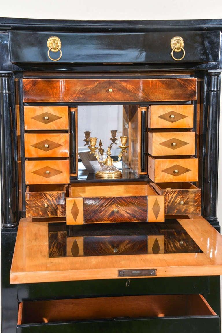 biedermeier black lacquered secretaire abattant at 1stdibs. Black Bedroom Furniture Sets. Home Design Ideas
