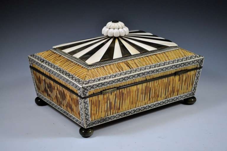 vizagapatam quill work box at 1stdibs. Black Bedroom Furniture Sets. Home Design Ideas
