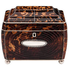 Pressed Tortoiseshell Regency Tea Caddy
