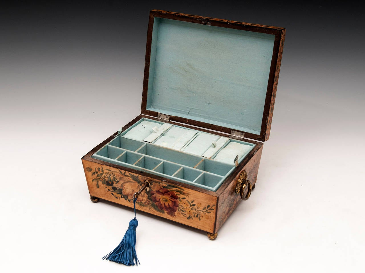 Regency Penwork Sycamore Sewing Box For Sale 5
