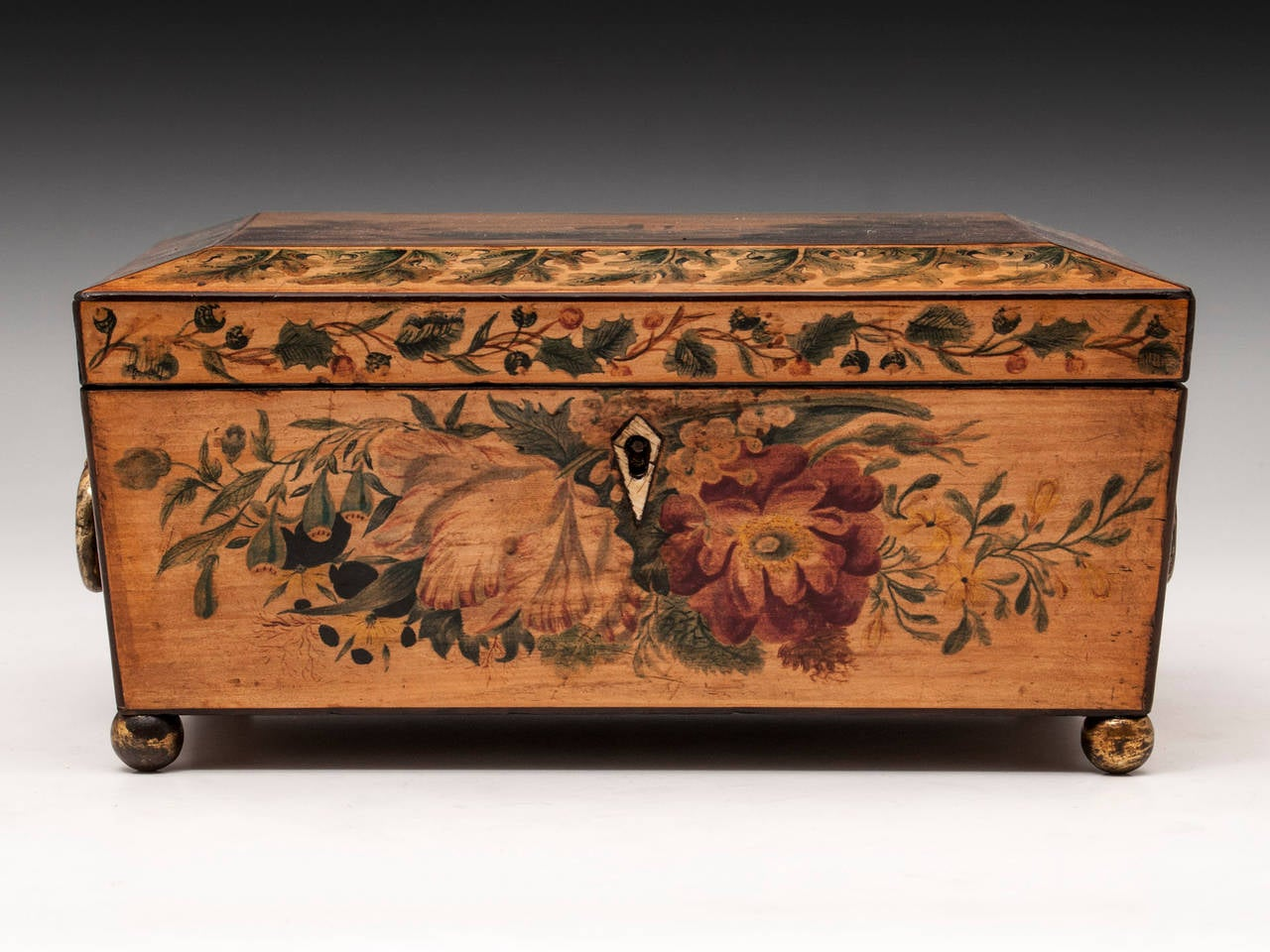 British Regency Penwork Sycamore Sewing Box For Sale