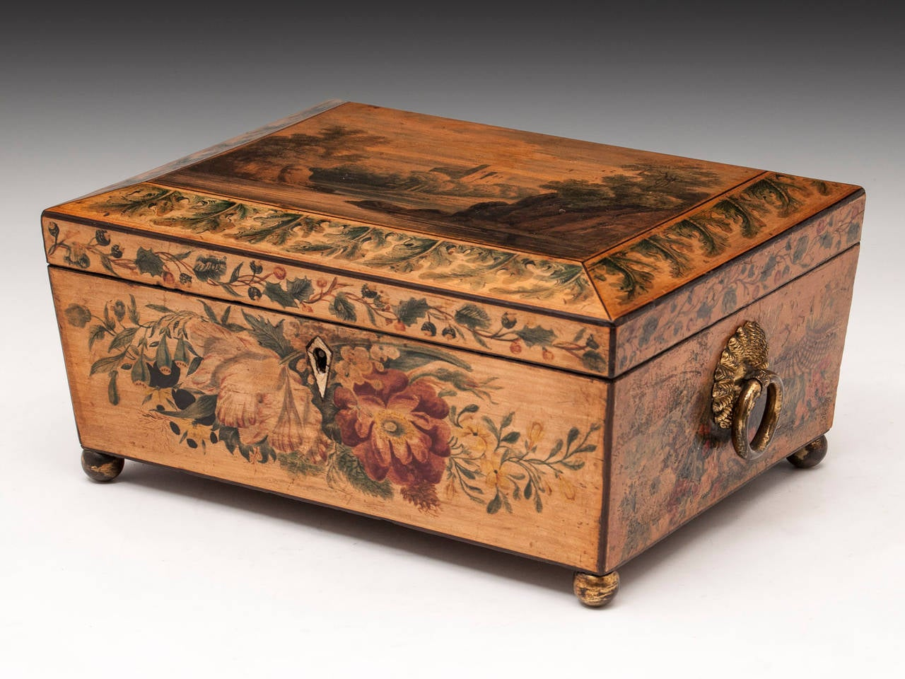 Regency Penwork Sycamore Sewing Box In Good Condition For Sale In Northampton, United Kingdom
