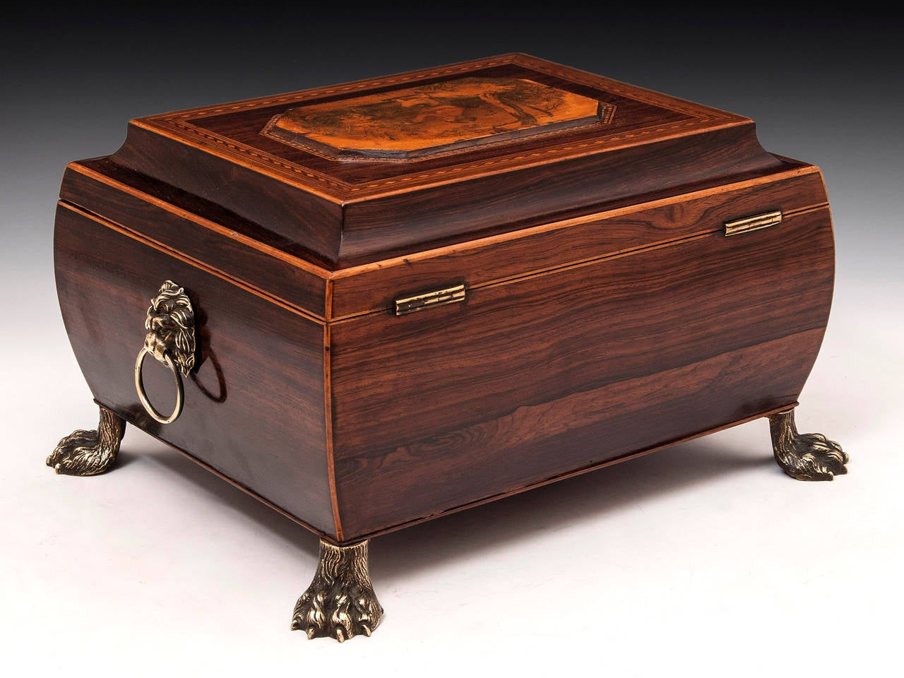 19th Century Regency Bombe Shape Mahogany Sewing Box In Good Condition For Sale In Northampton, United Kingdom