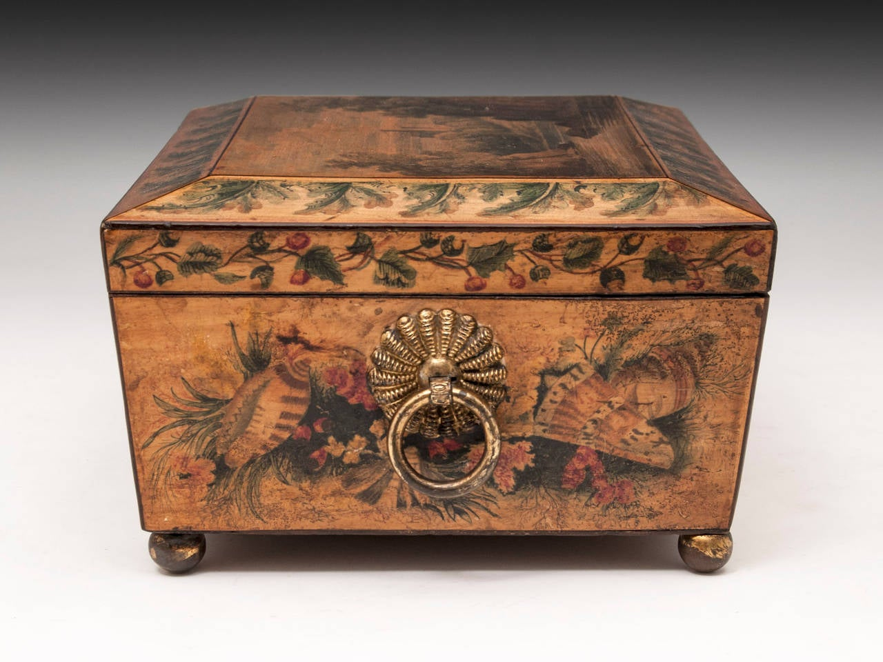 19th Century Regency Penwork Sycamore Sewing Box For Sale