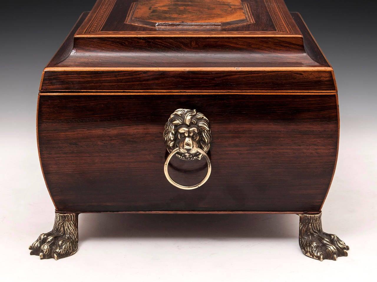 Brass 19th Century Regency Bombe Shape Mahogany Sewing Box For Sale