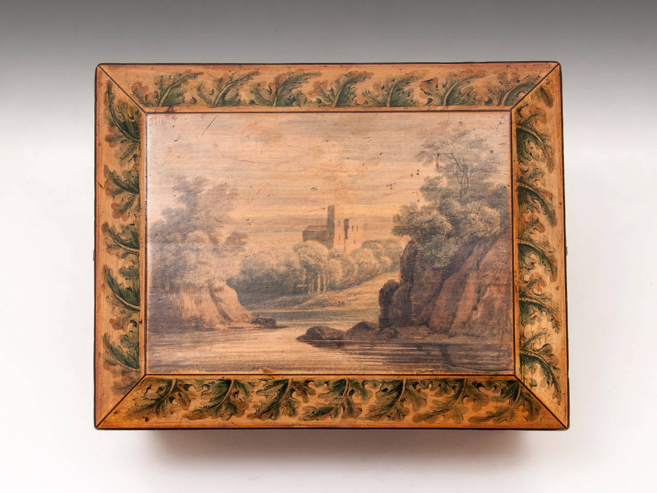 Regency Penwork Sycamore Sewing Box For Sale 1