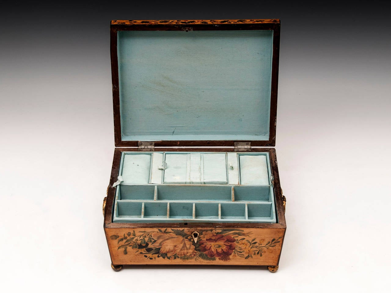 Regency Penwork Sycamore Sewing Box For Sale 2