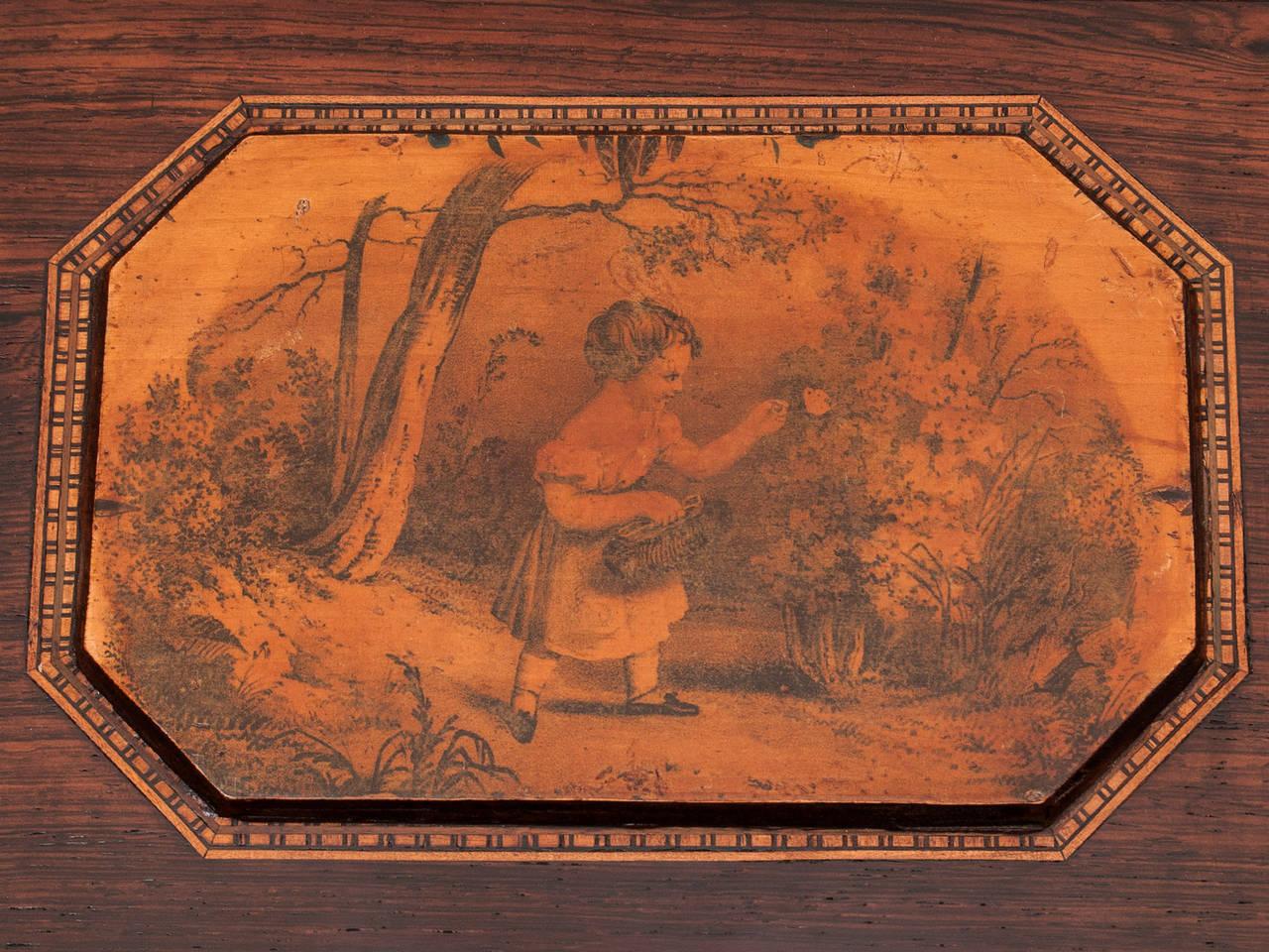 19th Century Regency Bombe Shape Mahogany Sewing Box For Sale 2