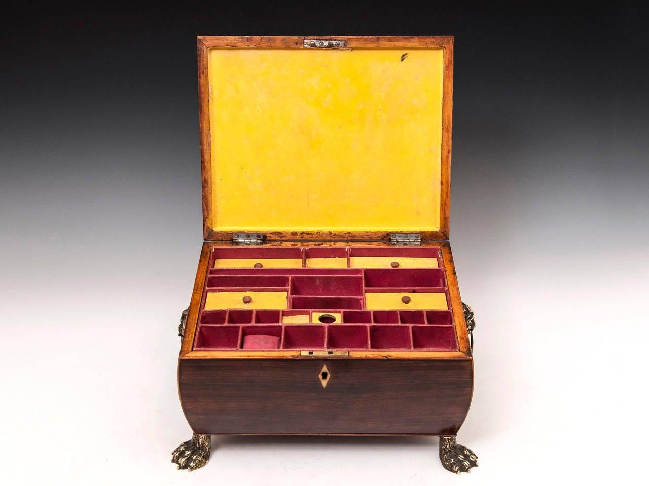 19th Century Regency Bombe Shape Mahogany Sewing Box For Sale 3