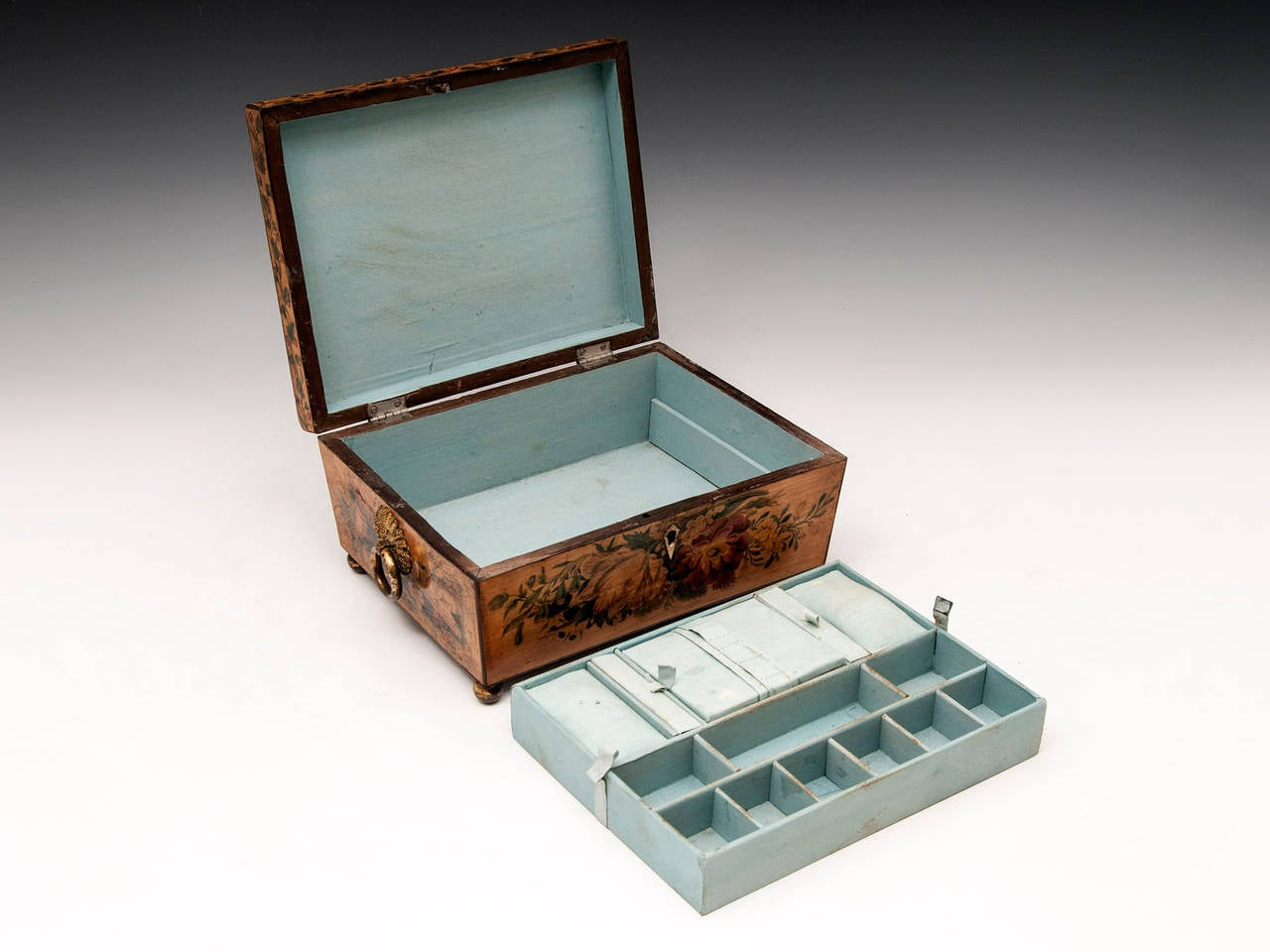 Regency Penwork Sycamore Sewing Box For Sale 3