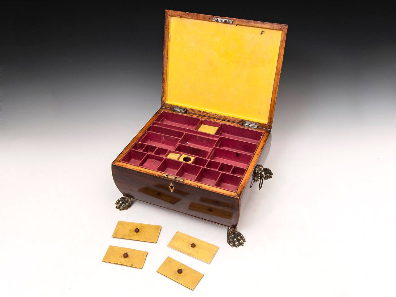 19th Century Regency Bombe Shape Mahogany Sewing Box For Sale 4