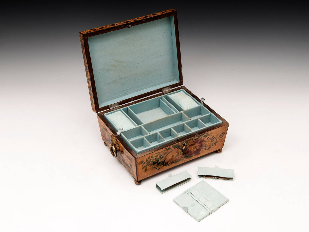 Regency Penwork Sycamore Sewing Box For Sale 4