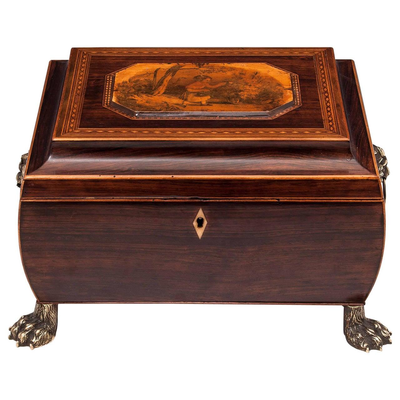 19th Century Regency Bombe Shape Mahogany Sewing Box