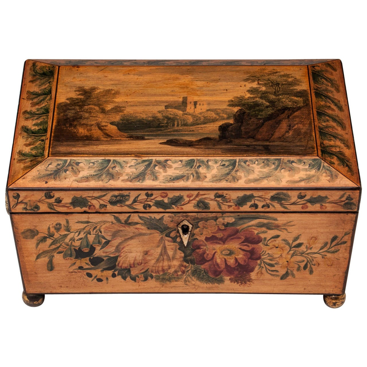 Regency Penwork Sycamore Sewing Box For Sale