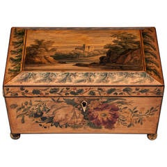 Regency Penwork Sycamore Sewing Box