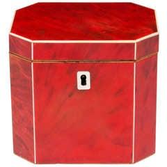 Rare Red Tortoiseshell Tea Caddy