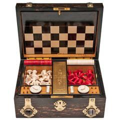 Antique Coromandel Games Box with Chess & Backgammon