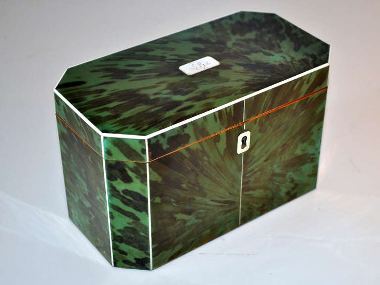 British Green Tortoiseshell Tea Caddy For Sale