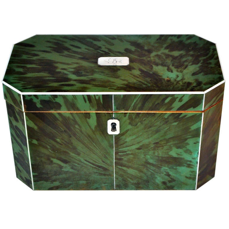 Green Tortoiseshell Tea Caddy For Sale
