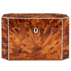 Blonde Tortoiseshell Tea Caddy