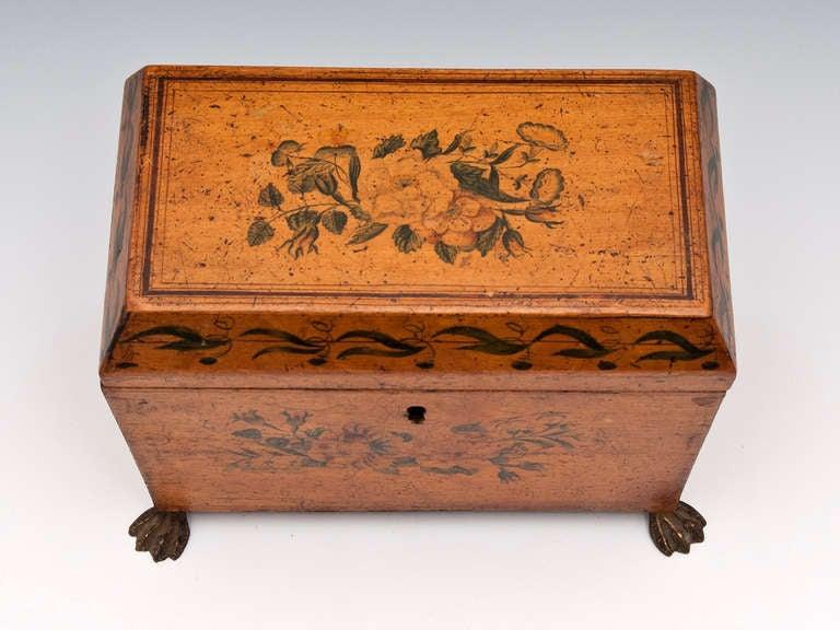 British Antique Penwork Tea Caddy