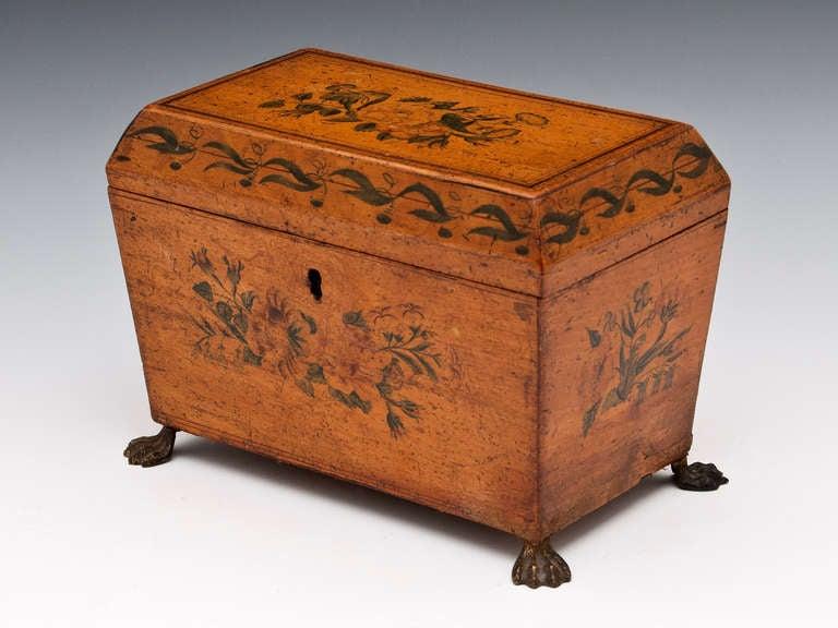 Antique Penwork Tea Caddy In Excellent Condition In Northampton, United Kingdom