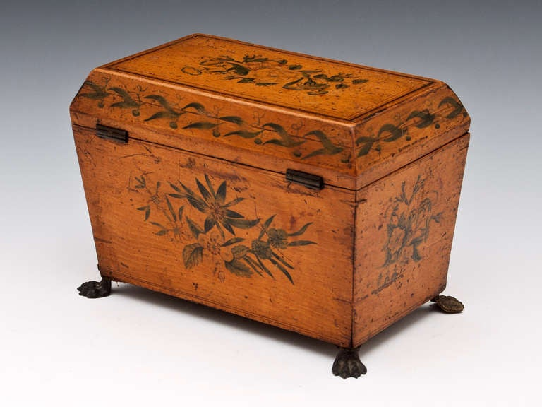 19th Century Antique Penwork Tea Caddy