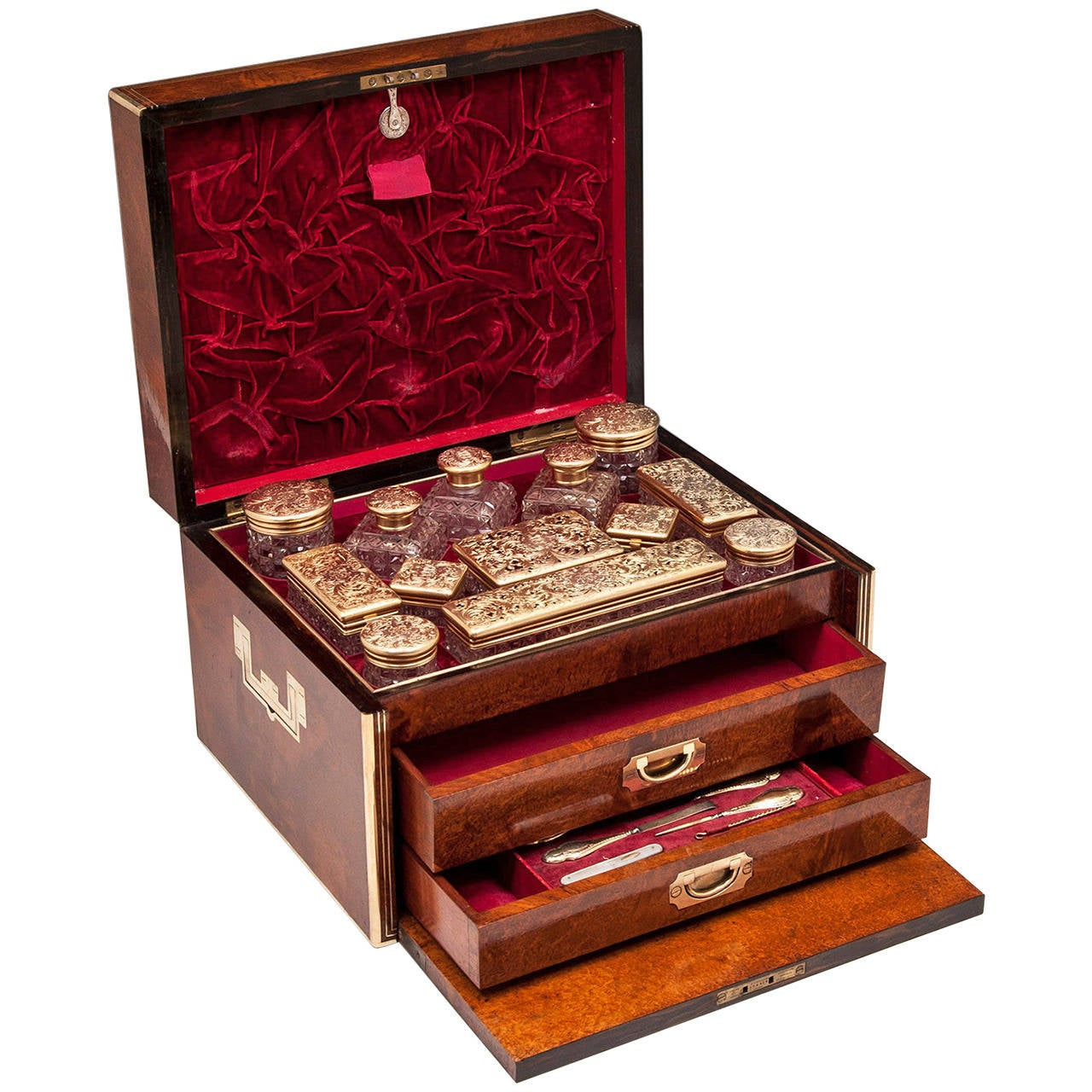 Antique Amboyna Silver Gilt Dressing Vanity Box