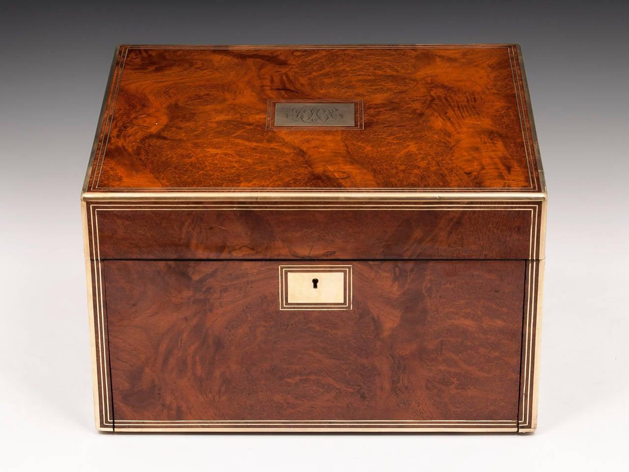 Antique Amboyna Silver Gilt Dressing Vanity Box For Sale