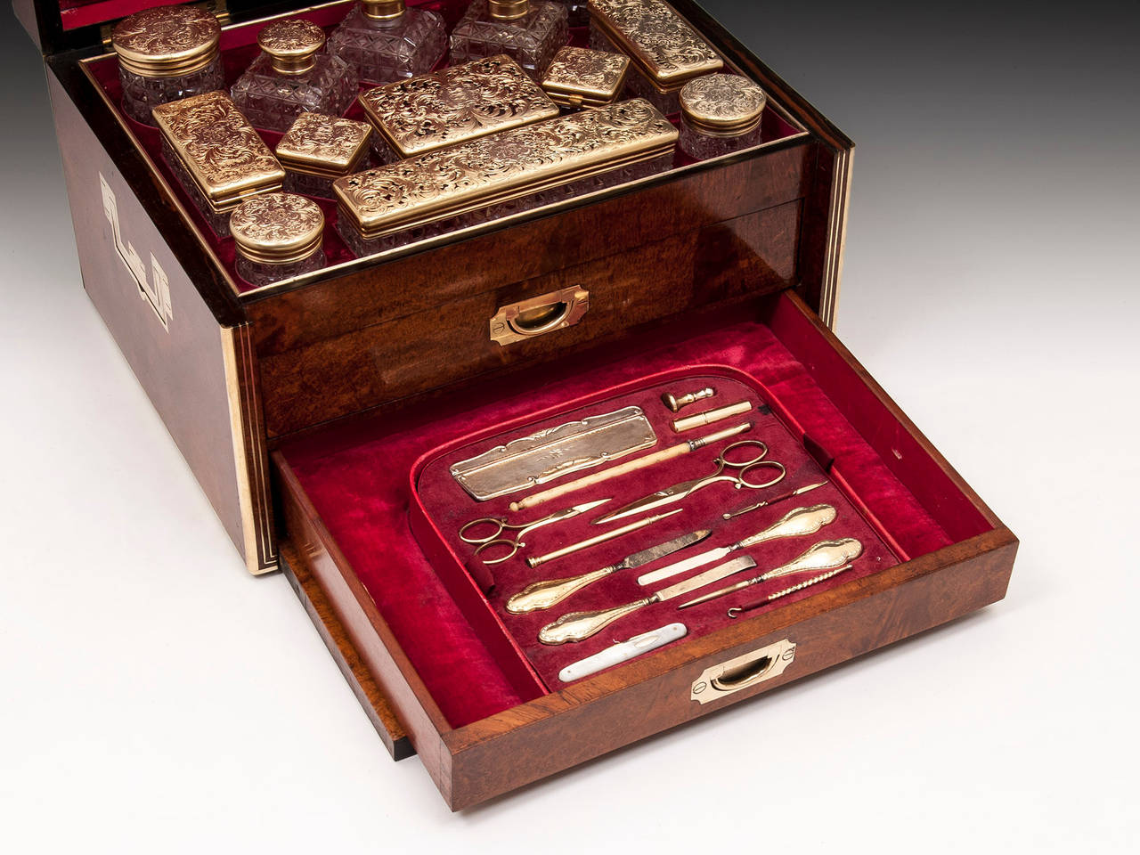 Antique Amboyna Silver Gilt Dressing Vanity Box For Sale