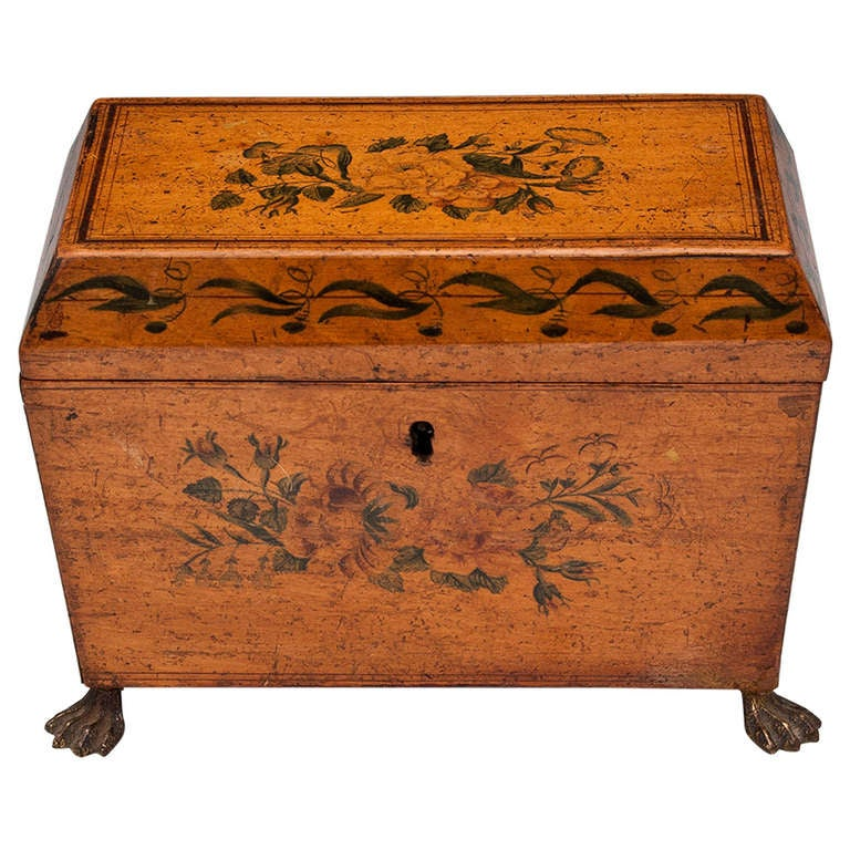 Antique Penwork Tea Caddy