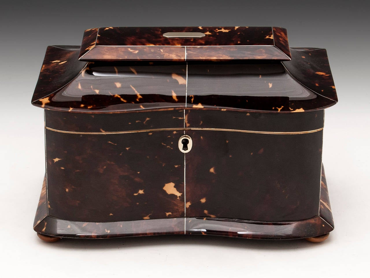 Tortoiseshell Tea Caddy with pagoda top, serpentine front, silver stringing and escutcheon. Standing on four Tagua nut feet.   The interior features two compartments with most of their original linings with two tortoiseshell lids with bone handles.