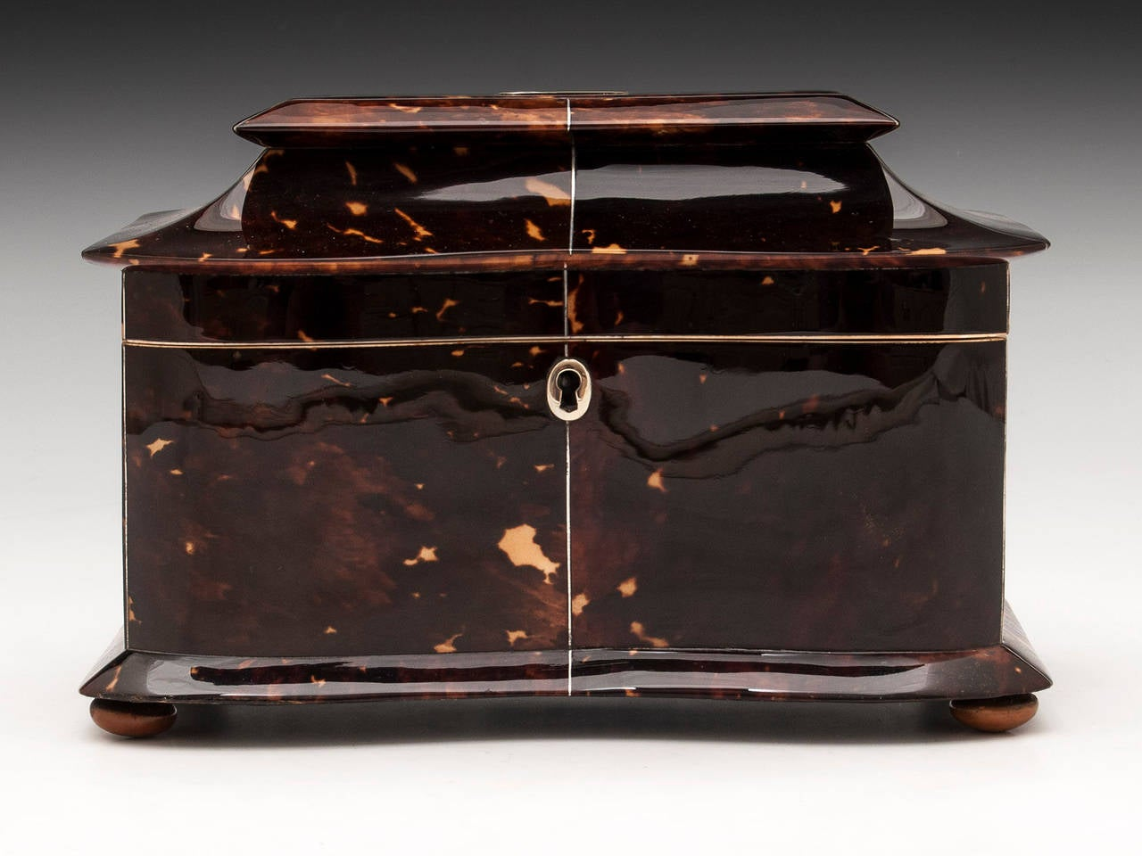 British Regency Tortoiseshell Tea Caddy For Sale