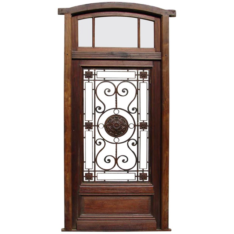 Eyebrow Arched Single Entry Door With Transom Glass And