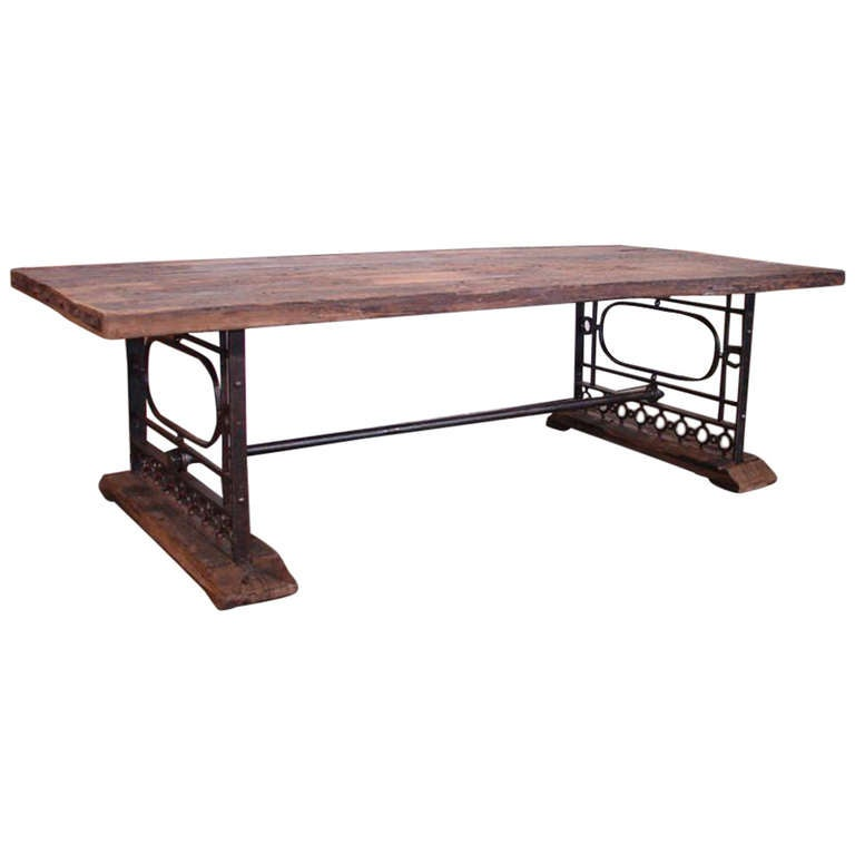 Rustic Table with Wrought Iron Base at 1stdibs