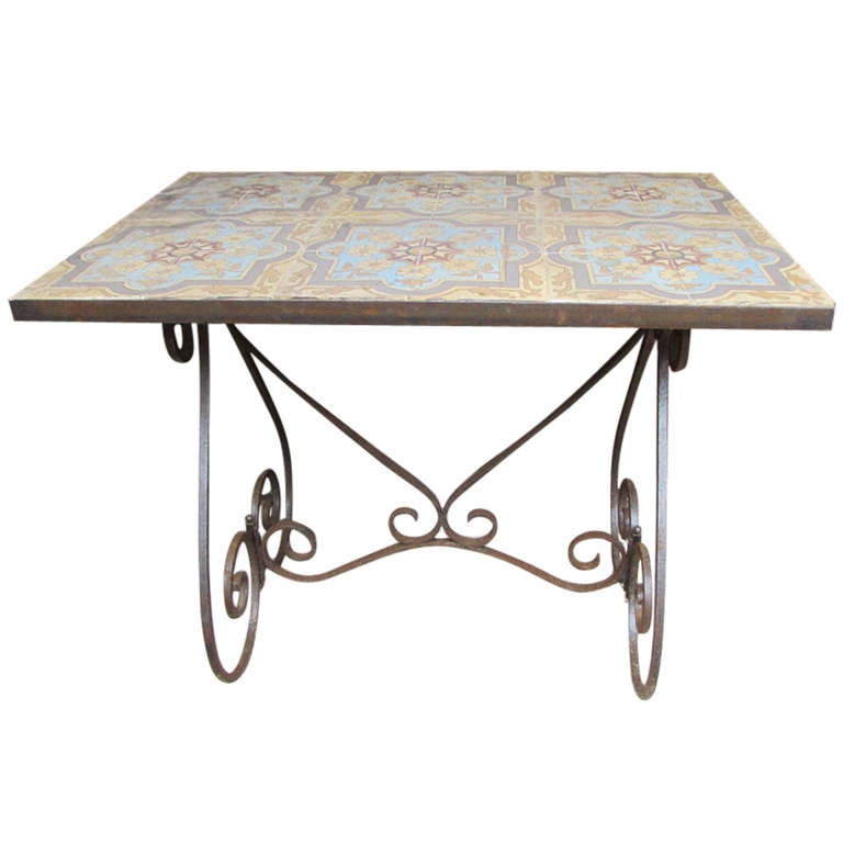 Antique Coffee Table With Iron Base And Majolica Top At