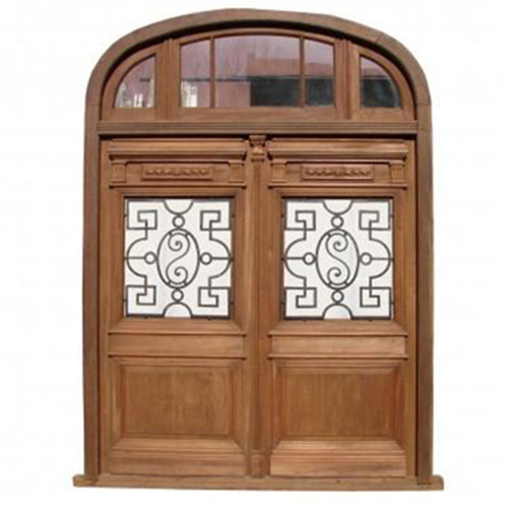 Antique Double Entry Door Half Round Top Transom At 1stdibs