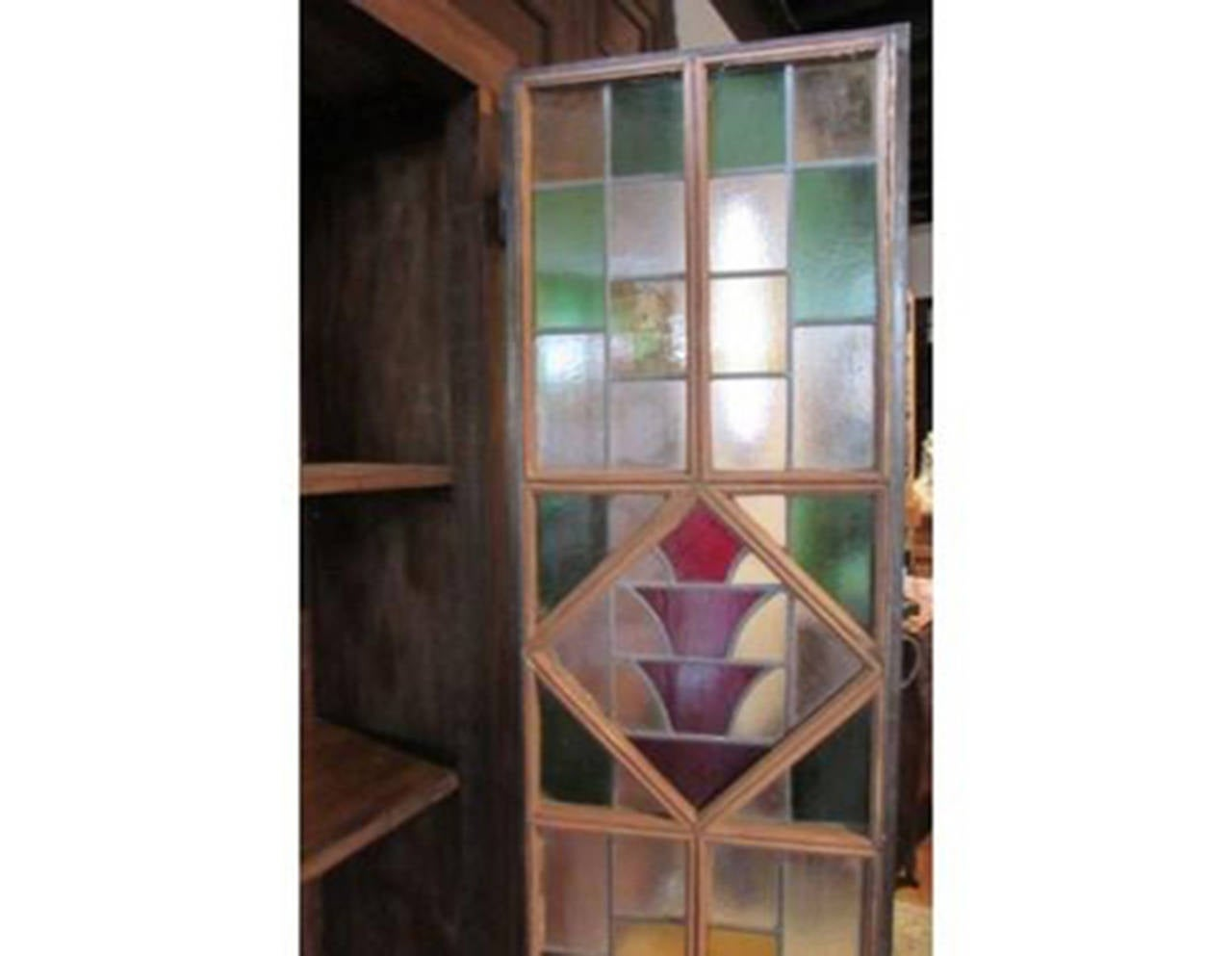 Antique Wooden Wardrobe With Stained Glass Doors At 1stdibs. Full resolution‎  photo, nominally Width 1280 Height 993 pixels, photo with #856746.