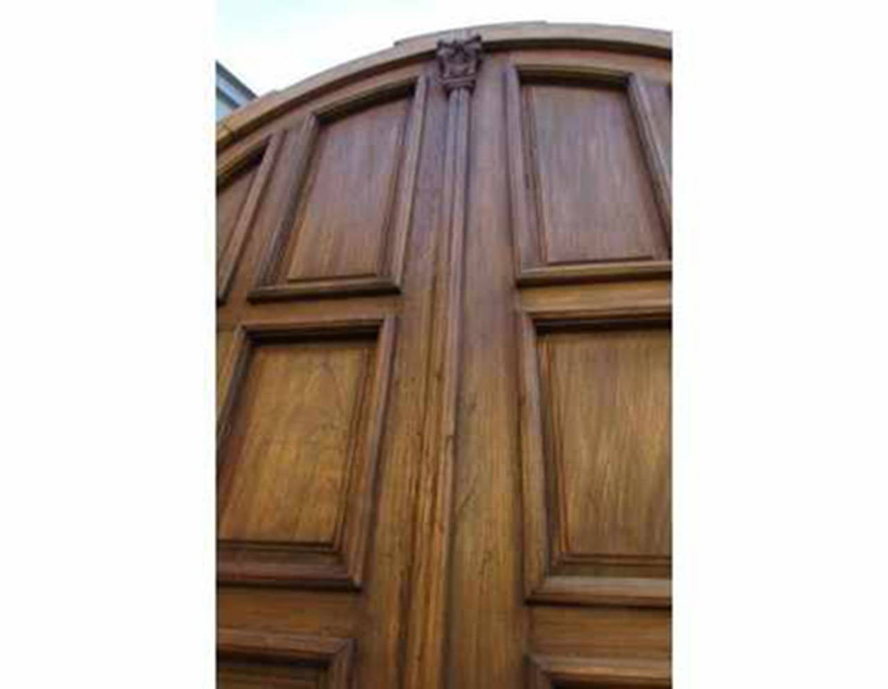 993 #3C2719 Antique Double Solid Paneled Round Top Door At 1stdibs image Round Top Entry Doors 40731280
