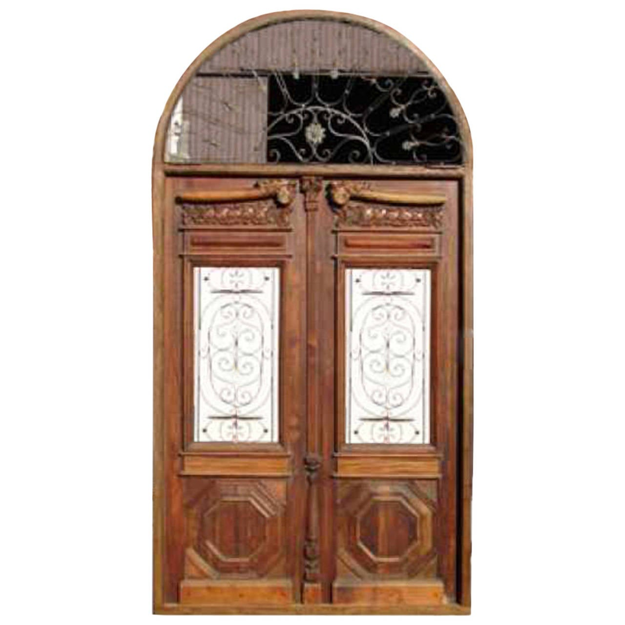 1280 #A94E22 Arched Double Door With Transom At 1stdibs save image Arched Double Entry Doors 40771280