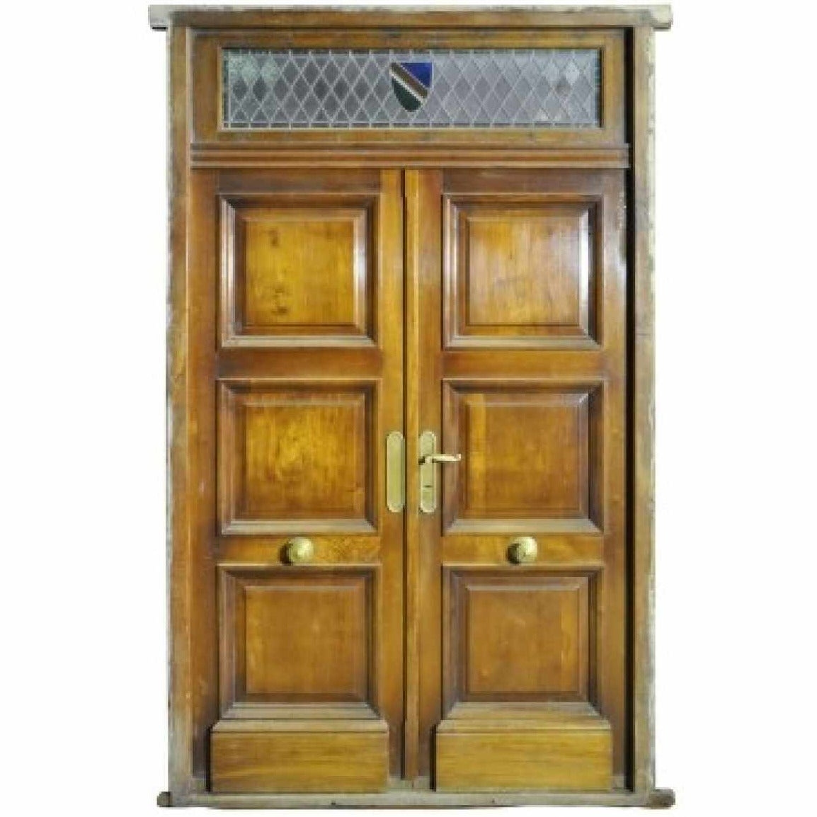 Antique Double Front Door With Stained Glass Transom At
